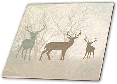 """3dRose ct_215932_4 Deer Silhouettes Set Against Faded Forest Background in Earth Tones Ceramic Tile, 12"""""""