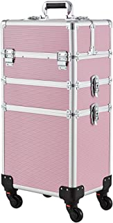 Makeup Case - 3 In 1 Aluminum Professional Rolling Cosmetic Beauty Storage With Folding Trays and Large Compartments Pink