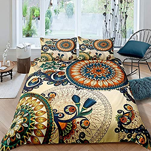Rnvvaceo Bedding Sets Comfortable and Soft Bedding Set Bohemian ethnic pattern Bedding Cover Sets 100% Polyester Anti-allergy Anti-fading HD Printing for Everybody Single size 135 x 200 cm, Childre