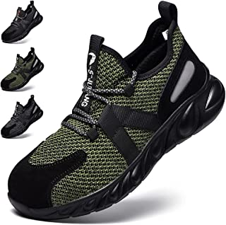 Safety Shoes Women Men Steel Toe Work Trainer Shoes Lightweight Breathable Industrial Non Slip Shoes Sneakers 07 Green UK ...