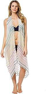3fe8df1f63 SUBTLE LUXURY Women's Wovens Rainbow Stripe Vest Kimono Swim Cover Up