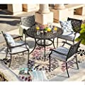 LOKATSE HOME 5 Piece Outdoor Patio Metal Dining Set with 4 Outdoor Iron Arm Dining Chairs with Seat Cushions and 1 Outdoor Dining Table with Umbrella Hole-Grey