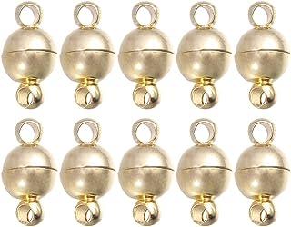 10 قطع 10 مم مشبك مغناطيسي مجوهرات بمشبك مغناطيسي لإعداد العقود (ذهبي)