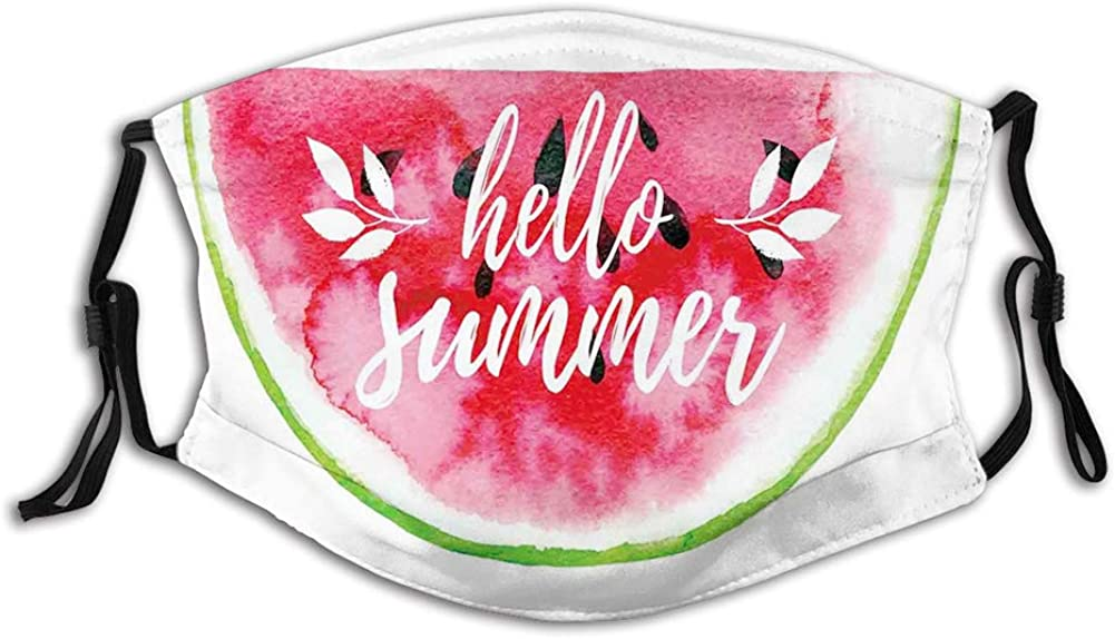 Watercolor Watermelon Figure with Hello Summer Motivation Reusable Face Mask Balaclava Washable Outdoor Nose Mouth Cover for Men and Women Size:Adult