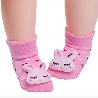 Calcetines antideslizantes para bebé con muñeca para recién nacido, calcetines antideslizantes para bebés de 6 a 18 meses, 1 par