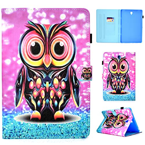 Galaxy Tab S4 10.5 Case, Cookk Ultra Lightweight Slim-Shell Stand Cover Case Auto Wake/Sleep Function Wallet Cover Samsung Galaxy Tab S4 10.5 inch (SM-T830 SM-T835), Owl