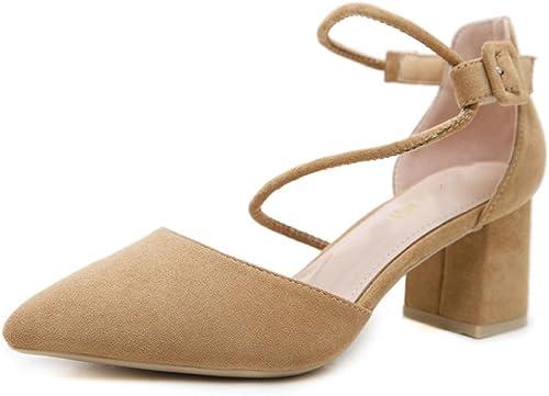 DKFJKI Lady High Heels Heels Suede Pointu Chaussures Simples élégant Creux Mode