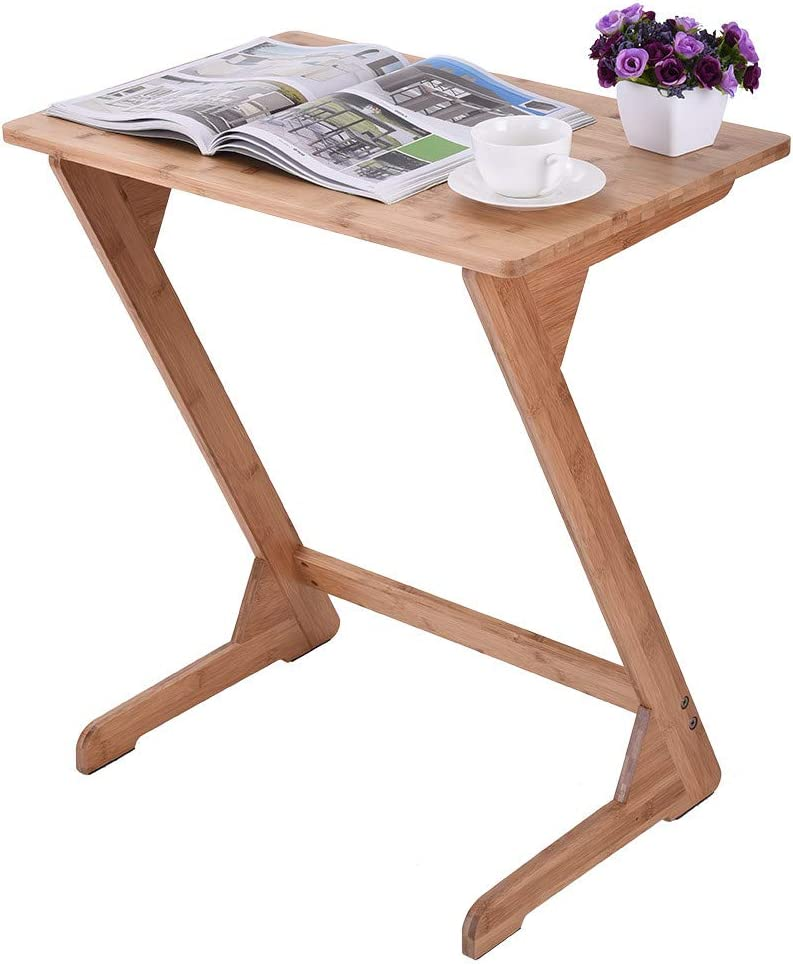 Micozy Sofa Table End Max 57% OFF TV Max 80% OFF Bamboo Tray Snack Laptop Z-Shape