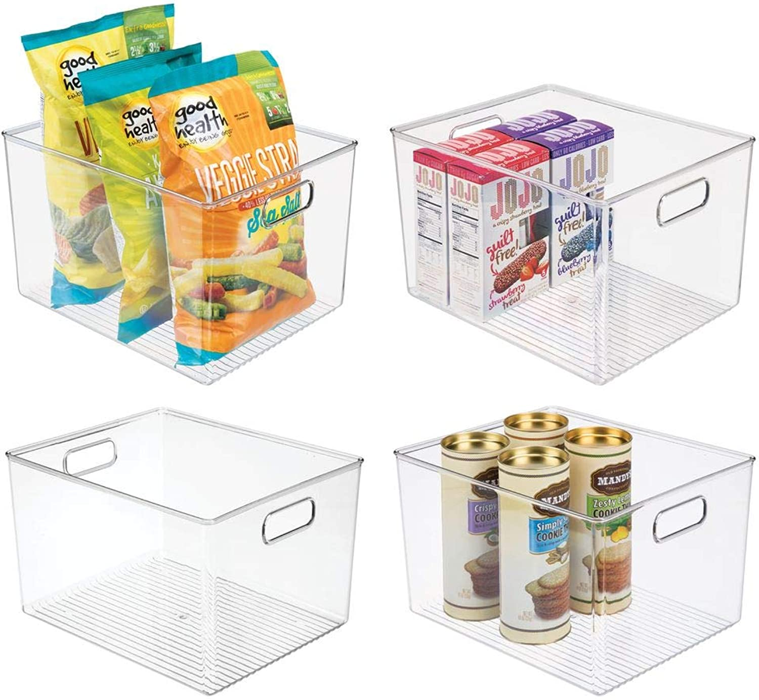 MDesign Plastic Storage Organizer Container Bins Holders with Handles - for Kitchen, Pantry, Cabinet, Fridge Freezer - Large for Organizing Snacks, Produce, Vegetables, Pasta Food - 4 Pack - Clear