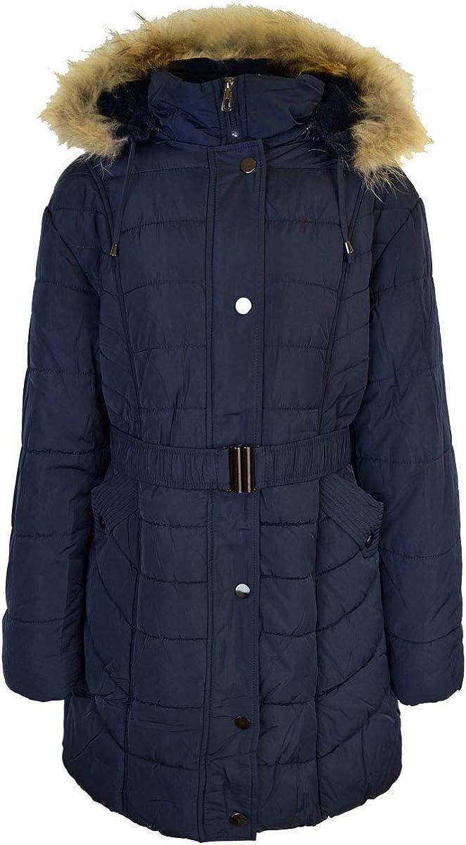 Fashion Thirsty Womens Plus Size Winter Long Jacket Puffer Coat Detachable Faux Fur Hood US Size 14 Blue