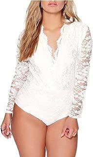 Women Ladies Long Sleeve Full Floral Lace Plus Size Bodysuit Leotard Top 16-24