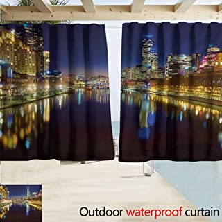 Zmcongz City Outdoor Waterproof Curtain Looking Down The Yarra River on a Beautiful Night in Melbourne Water Reflection Perfect for Your Patio, Porch, Gazebo, or Pergola W72 xL63 Indigo Yellow