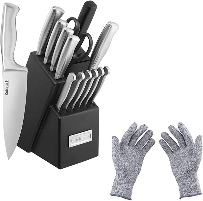 Cuisinart 15pc Stainless Steel Hollow Handle Cutlery Block Set W Safety Gloves