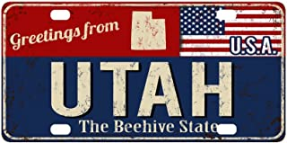 InterestPrint Greetings from Utah Rusty Metal Sign with American Flag Metal License Plate Tag Sign Decoration for Car Woman Man - 12