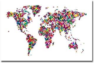 Butterflies World Map II by Michael Tompsett, 22x32-Inch Canvas Wall Art