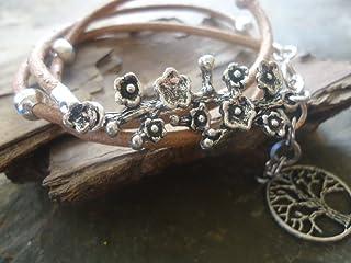 ✿ ARGENTO Branch & ALBERO ✿ braccialetto di cuoio con la filiale
