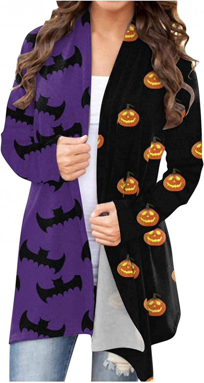 felwors Cardigan for Women, Womens Halloween Funny Cute Pumpkin Cat Ghost Tops Long Sleeve Open Front Lightweight Coat