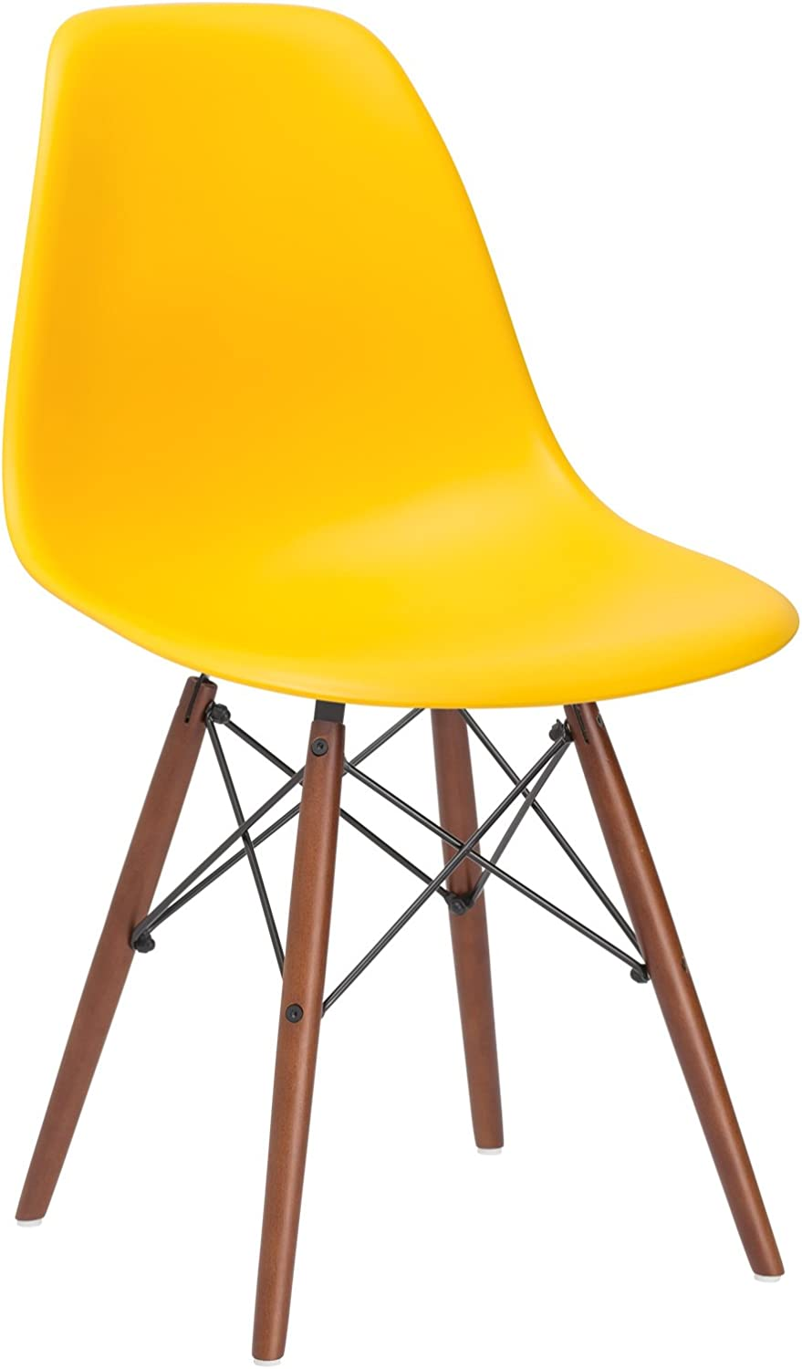 Poly and Bark Vortex Side Chair Walnut Legs, Yellow