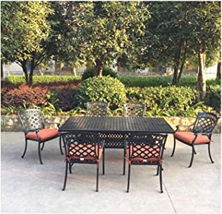 7 pc patio dining set 1 table 6 outdoor chairs cast aluminum furniture dark bronze