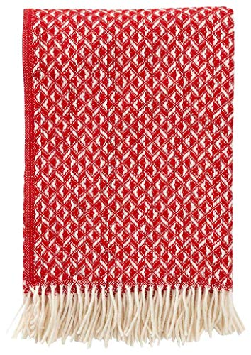 Klippan Anna Wolldecke 130x200 cm rot, naturweiß