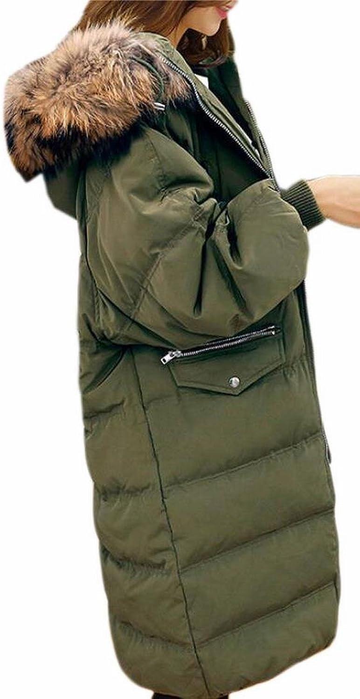 HTOOHTOOH Women's Lightweight Zipper Faux Fur Hoodies Down Coat Long Outwear
