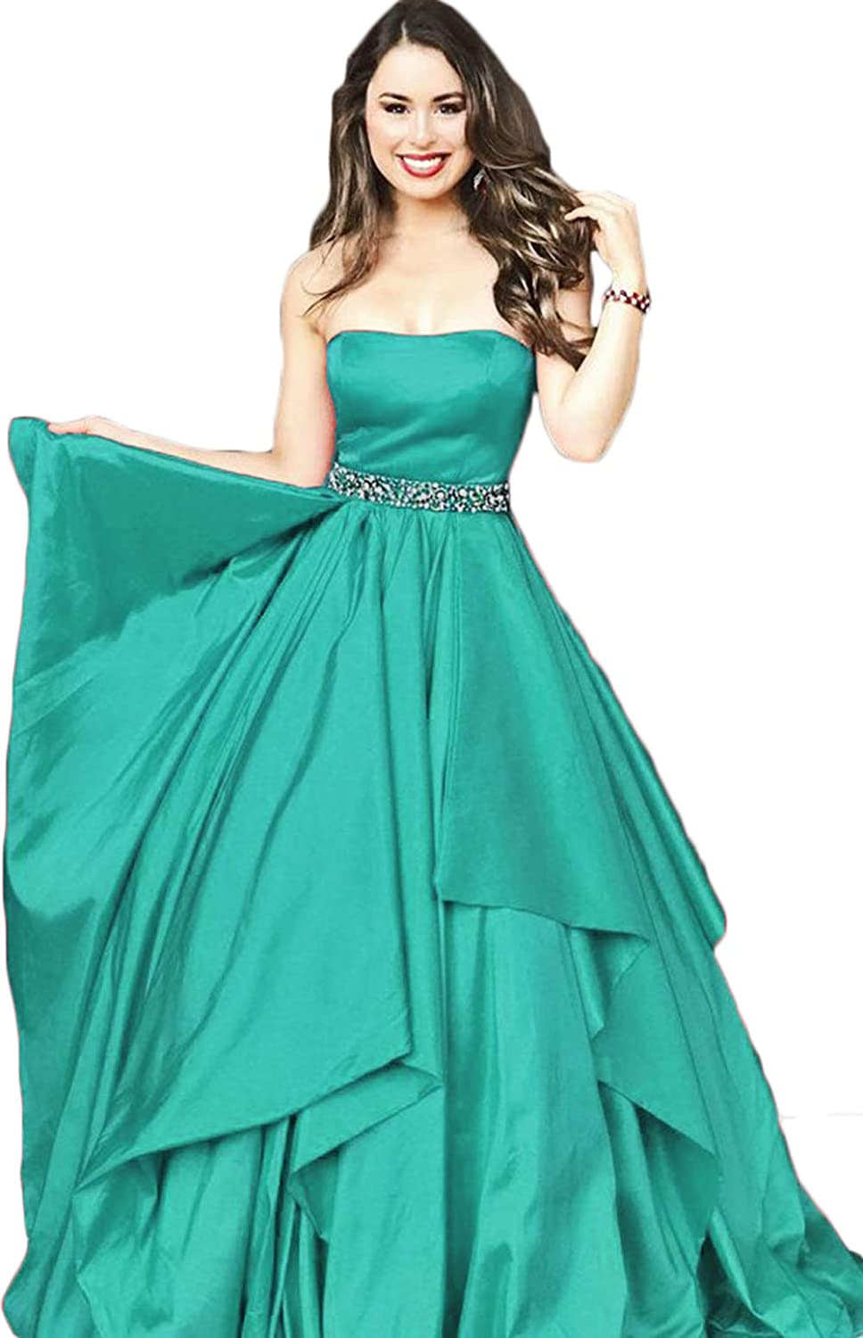 Womens Strapless Prom Dresses Long 2019 Crystal Beaded Formal Evening Party Ball Gown
