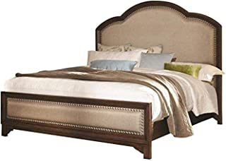 Laughton King Upholstery Bed Cream and Rustic Brown