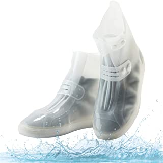 Waterproof Shoe Covers, Portable Rain Boots with Adjustable Belt Buttons Anti-Slip/Reusable