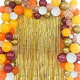 Kit de guirnalda de globos con temática de otoño para decoraciones de fiesta de cumpleaños de Baby Shower Día de Acción de Gracias con cortinas de globos de color amarillo anaranjado burdeos