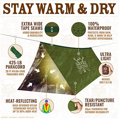 Don't Die In The Woods World's Toughest Ultralight Survival Tent • 2 Person Mylar Emergency Shelter Tube Tent + Paracord • Year-Round All Weather Protection for Hiking, Camping, Outdoor Survival Kits 5