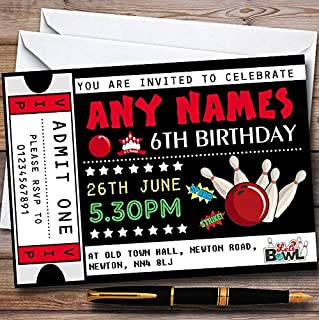 10 x Bowling Ticket Personalized Childrens Birthday Party Invitations