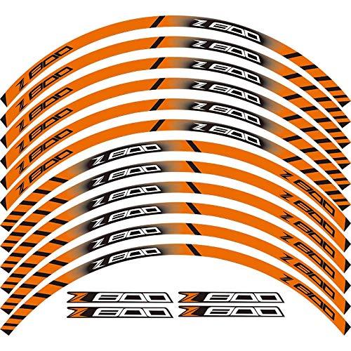 DFSD Adhesivos De Rueda para Motocicleta, Pegatinas Reflectantes, Franjas para Llanta para Ka&Wasaki Z800,Naranja