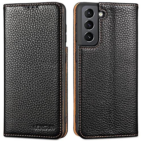 LENSUN Funda Samsung Galaxy S21 5G con Tapa, Funda de Cuero Genuino con Cierre Magnético y Ranuras para Tarjetas Carcasa Libro Protección para Teléfono Samsung Galaxy S21 5G - Negro (S21-DC-BK)
