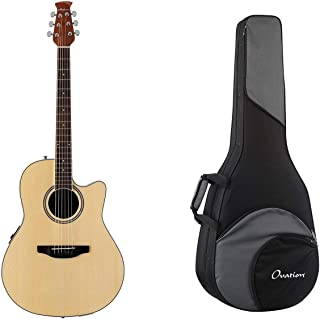 Ovation Applause Balladeer Mid-Depth Acoustic-Electric Guitar - Natural + Ovation Zero Gravity Guitar Case