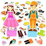 Imagination Generation Zoey & Joey Magnetic Dress-up Playset – Mix-and-Match 65 Pieces Including Clothes,...