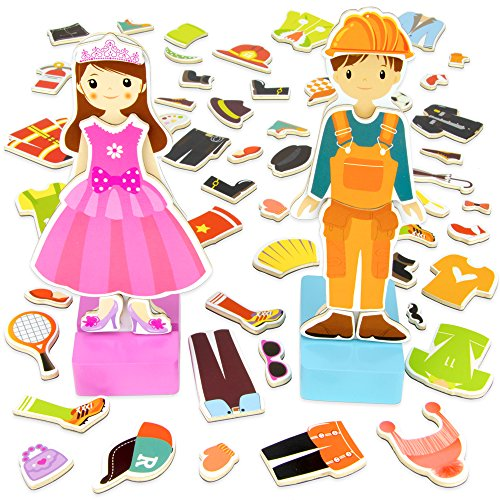 Imagination Generation Zoey & Joey Magnetic Dress-up Playset – Mix-and-Match 65 Pieces Including Clothes, Hats, & Accessories - Wooden Wonders Toy