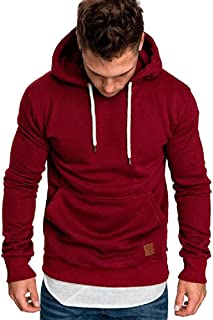 iZHH Hoodie Men Pullover Solid Sweatshirt Slim Hooded Sweater Jacket Outwear Top