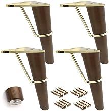 Set van 4 massief houten meubelpoten, extra bankvoeten, houten keukenmeubelpoten, salontafelpoten, driehoekige metalen sta...