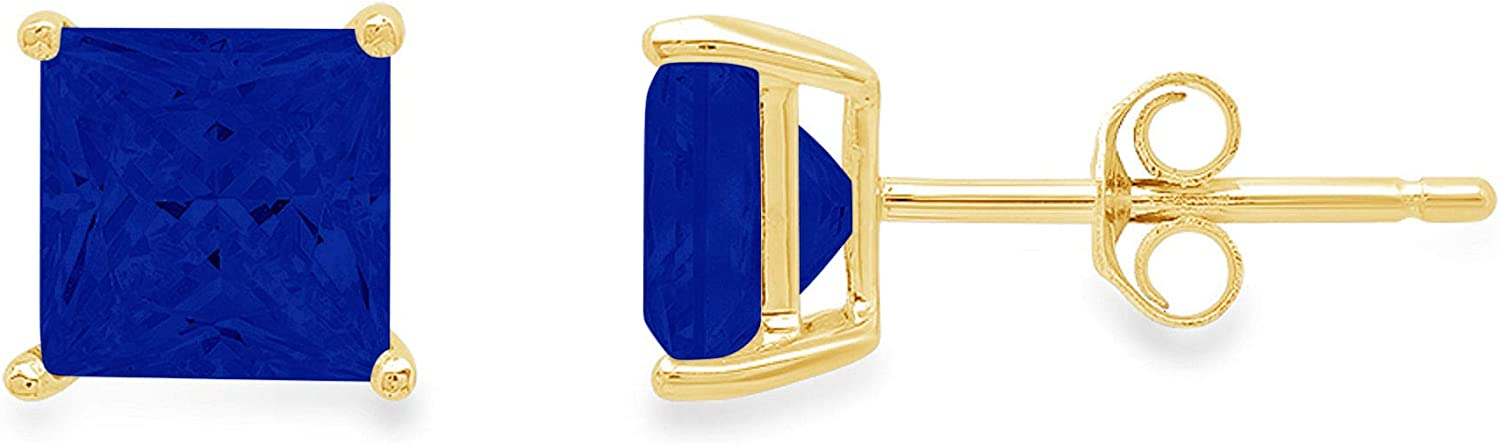 1.6 ct Brilliant Princess Cut Solitaire VVS1 Flawless Simulated Blue Sapphire Gemstone Designer Pair of Stud Earrings Solid 18K Yellow Gold Butterfly Push Back