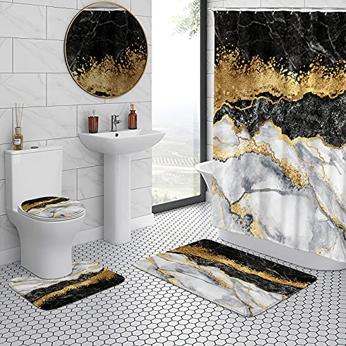 """4 Pcs Black Marble Shower Curtain Sets with Rugs,Toilet Lid Cover,U Shape Mat,Abstract Grey Gold Bathroom Set with Waterproof Fabric Shower Curtains with Bath Rugs and Accessories,71"""" L"""