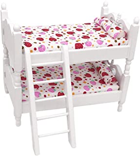 KKYT Dollhouse Furnitures, 1:12 Doll House Accessories Mini Furnishings Dollhouse Miniature Cute Bunk Bed Furniture Bed Set Bedroom Model Dolls Toys for Kids Dollhouse (A)