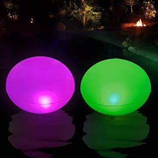 Inflable UFO Luces Solar Piscina Flotante, Lámpara Solar de Jardín RGB LED Color Cambiante, IP68 Impermeable Colorido Luce...