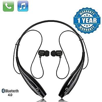 SHOPTOSHOP 730 Wireless Neckband Bluetooth Earphone Headset Earbud Portable Headphone Handsfree Sports Running Sweatproof Compatible Android Smartphone Noise Cancellation - (Black)
