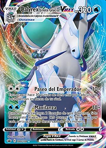 Calyrex Jinete Glacial Vmax 046/198 - Ultra Raros - Espada Y Escudo 6 - Reinado Escalofriante - Tarjeta Individual Pokemon - español + 1 x Heartforcards ®️ Card Guard Soft Sleeve