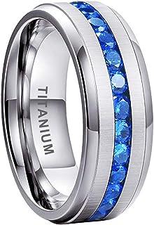 iTungsten 8mm Titanium Rings for Men Women Eternity Wedding Engagement Bands Blue White Round Princess Cubic Zirconia Inla...