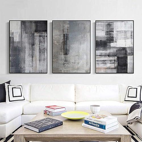 tienda Nuanxin Pintura De Patrón Abstracto Abstracto Abstracto gris, Minimalista Nórdico Moderno, Lona, Resistente Al Agua Resistente A La DeColoración, Marco PS negro, Porche Decoración De Interiores, Un Conjunto De Tres  suministramos lo mejor