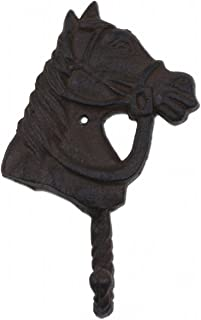 """Import Wholesales Horse Head Western Wall Hook Rust Brown Cast Iron 6.25"""" Tall"""