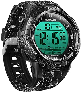 TEKMAGIC 10ATM Waterproof Sport Watch for Swimming Diving with Stopwatch, 12/24 Hour Format, Dual Time Zone, Alarm Functions (2019 Version)