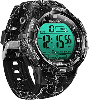 TEKMAGIC Digital Watch 100m Underwater Waterproof for Swimming Diving with Stopwatch, 12/24 Hour Format, Dual Time Zone, Alarm Functions