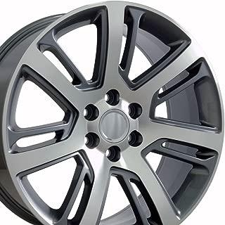 OE Wheels 22 Inch Fit Chevy Silverado Tahoe GMC Sierra Yukon Cadillac Escalade CA88 Gunmetal Mach'd 22x9 Rims Hollander 4738 SET